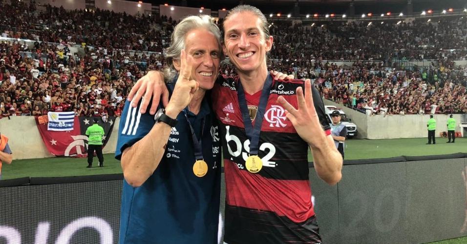 Jorge Jesus e Filipe Luís, depois do título do Flamengo na Recopa
