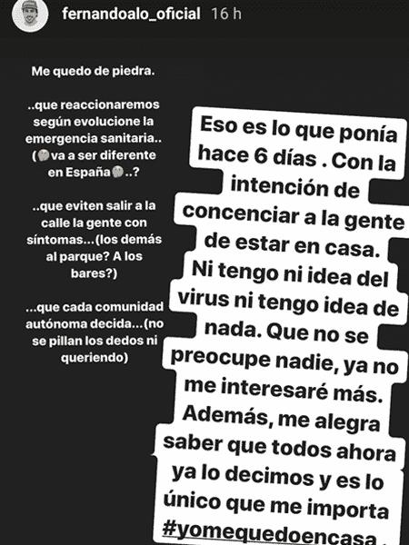 Post de Fernando Alonso sobre o coronavírus que rendeu criticas de Vicente Del Bosque, ex-técnico do Real Madrid - Reprodução/Instagram