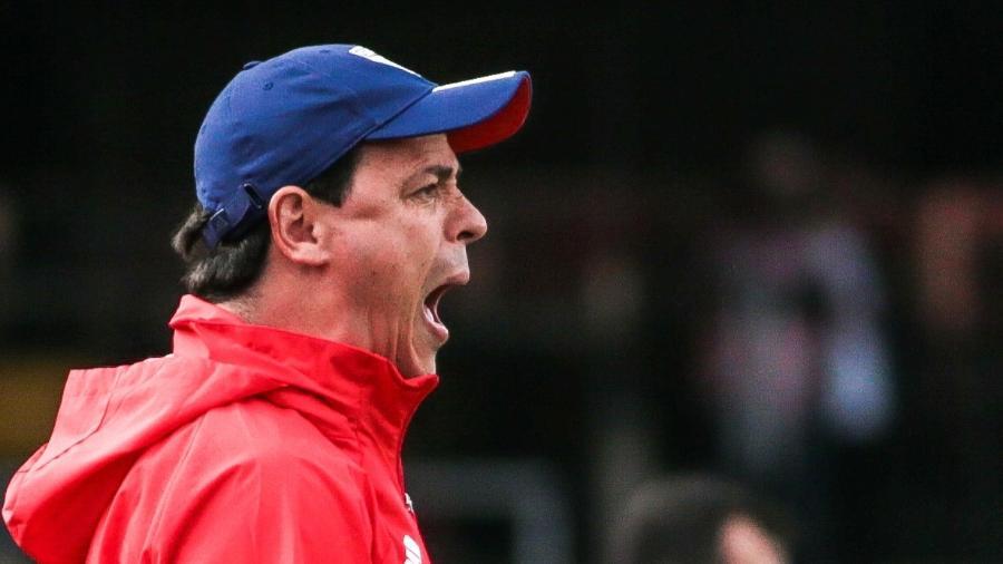 Fernando Diniz, técnico do São Paulo, grita à beira do campo. Próximo jogo é hoje (16), às 16h - Marcello Zambrana/AGIF