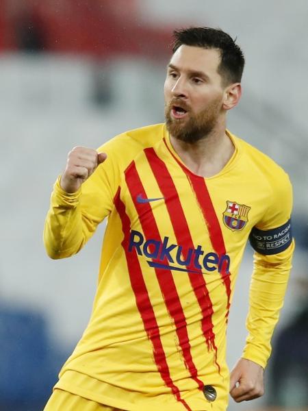 Messi comemora gol do Barcelona sobre o PSG pela Liga dos Campeões - REUTERS/Gonzalo Fuentes