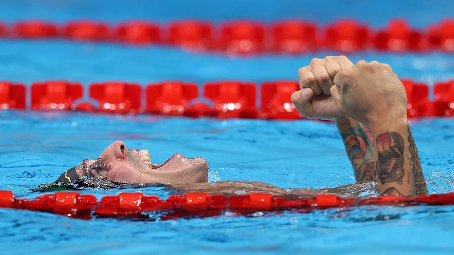 Bruno Fratus comemora medalha de bronze na natação - Clive Rose/Getty Images
