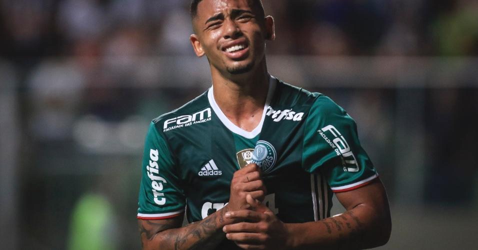 Gabriel Jesus chora ao marcar para o Palmeiras contra o Atlétitico-MG