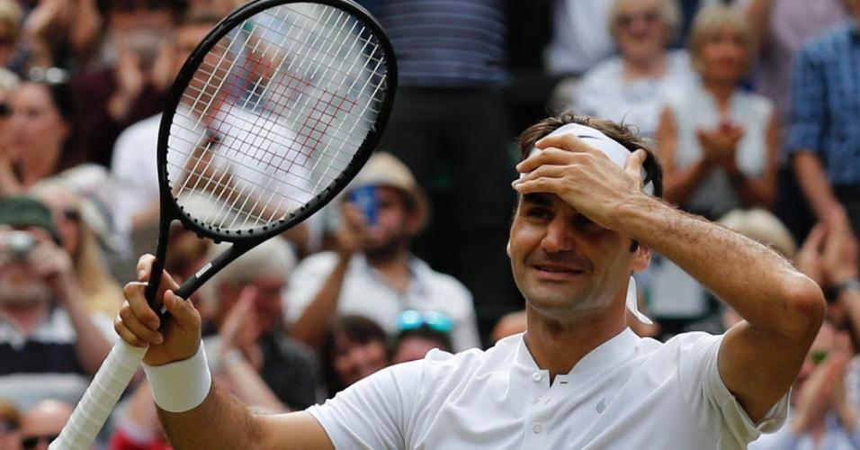 Reação de Federer ao vencer Wimbledon pela oitava vez