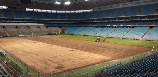 arena do grêmio troca gramado após reclamações de renato e jogadores
