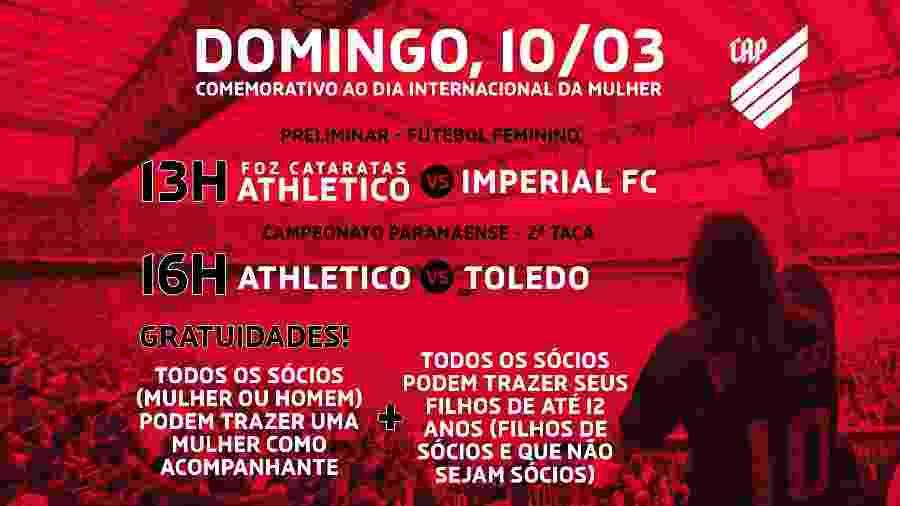 Athletico terá jogo preliminar feminino antes de partida do time masculino no Estadual - Reprodução/Twitter