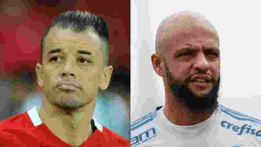 """D""""Alessandro e Felipe Melo se enfrentarão pela sétima vez em Inter x Palmeiras - Ricardo Rimoli/AGIF e Marcello Zambrana/AGIF"""