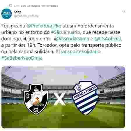 Postagem da SEOP indicava ação em São Januário, mas jogo foi no ES. Conteúdo foi apagado posteriormente - Reprodução / Twitter