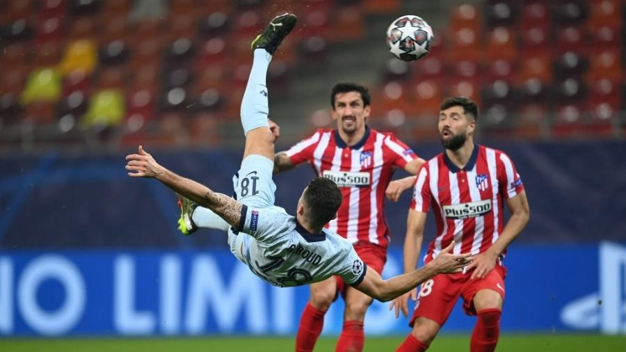Olivier Giroud faz golaço de bicicleta contra o Atlético de Madri pela Liga dos Campeões - Darren Walsh/Chelsea FC via Getty Images