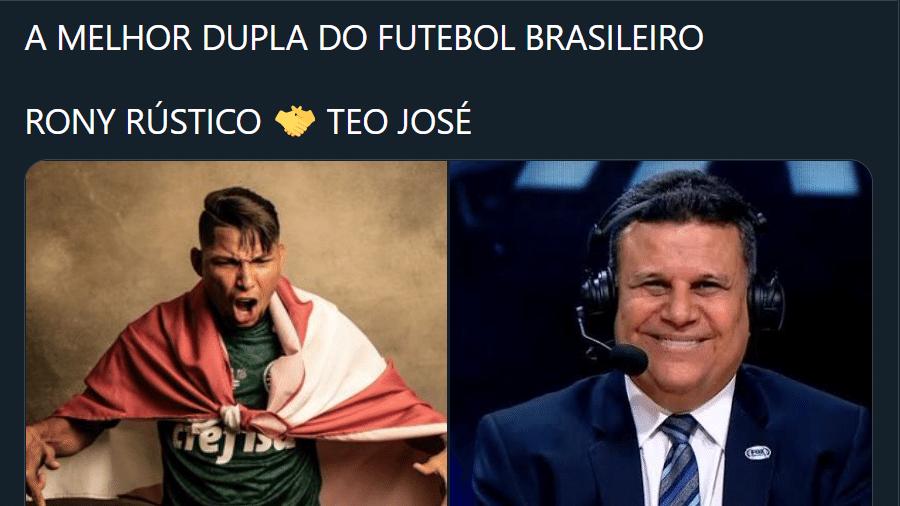 """""""Dupla"""" Rony e Téo José viram meme após goleada do Palmeiras na Libertadores - Reprodução/Twitter"""