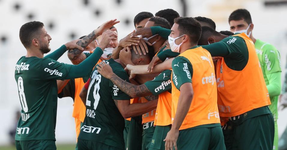 Jogadores do Palmeiras comemoram o gol contra a Ponte Preta