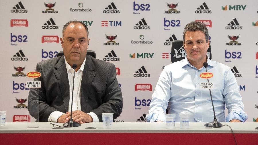 Marcos Braz e Bruno Spindel durante entrevista coletiva no Flamengo - Alexandre Vidal/Flamengo
