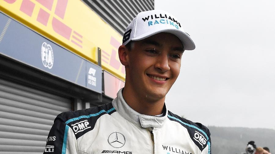 George Russell comemora segundo lugar na classificação para o GP da Bélgica - Pool/Getty Images