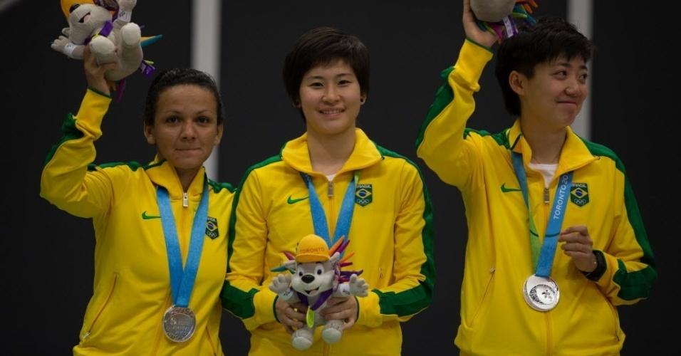 Gui Lin, Caroline Kumahara e Ligia Silva com inédita medalha de prata nos Jogos Pan-Americanos