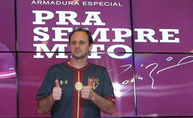 Rogério Ceni durante a apresentação do novo uniforme