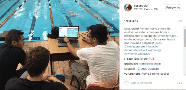 Cielo ao lado de Felipe França e biomecânico durante avaliação - Reprodução/Instagram