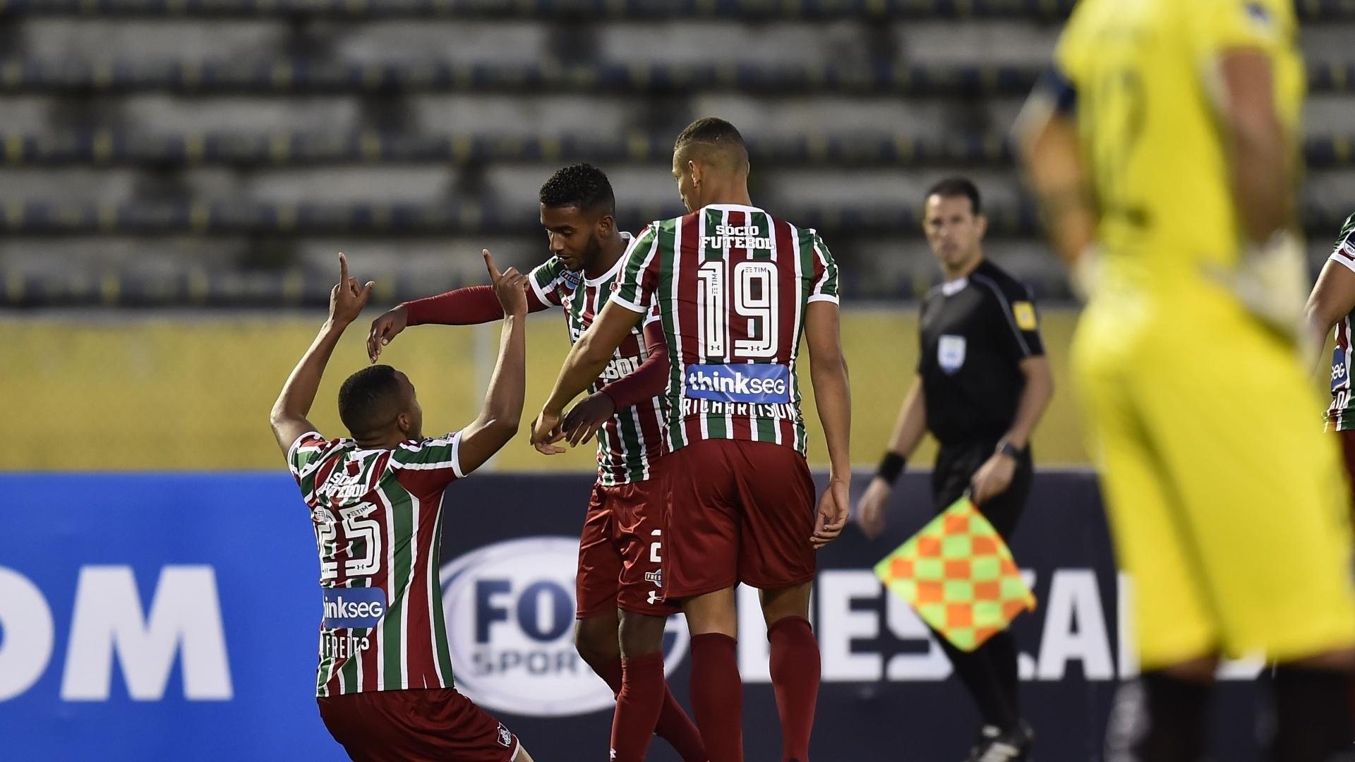 Marlon Freitas comemora gol do Fluminense pela Copa Sul-Americana contra a Universidad Catolica (EQU)