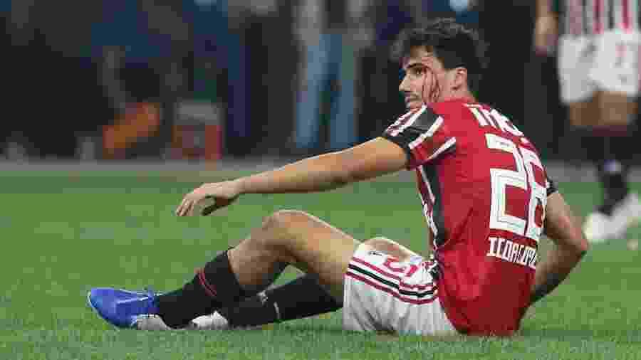 Igor Gomes tem sangramento no rosto durante final entre Corinthians e São Paulo - Rubens Chiri/São Paulo FC