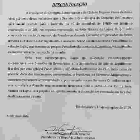 Carta de Alexandre Campello comunica a desconvocação de reunião do Conselho Deliberativo do Vasco - Divulgação