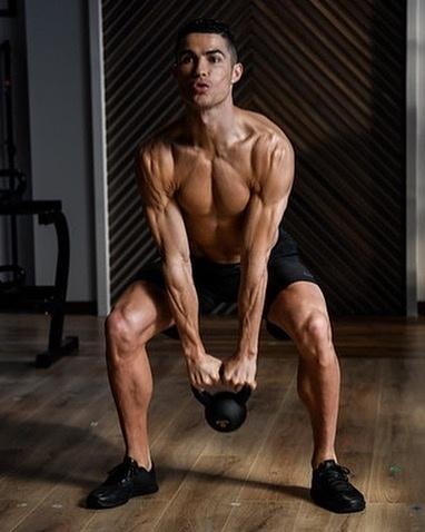 Cristiano Ronaldo em treino matinal