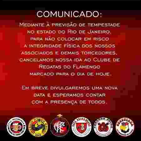 Organizadas do Flamengo cancelam protesto por conta da previsão de temporal no Rio de Janeiro - Reprodução - Reprodução