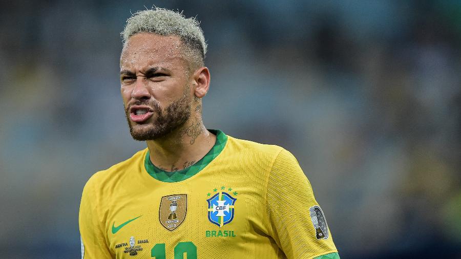 Neymar durante a final contra a Argentina; ele atuou em seis jogos completos nesta Copa América - Thiago Ribeiro/NurPhoto via Getty Images