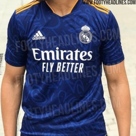 Suposta camisa reserva do Real Madrid para a temporada 2021/22 - Rerpodução/Footyheadlines.com