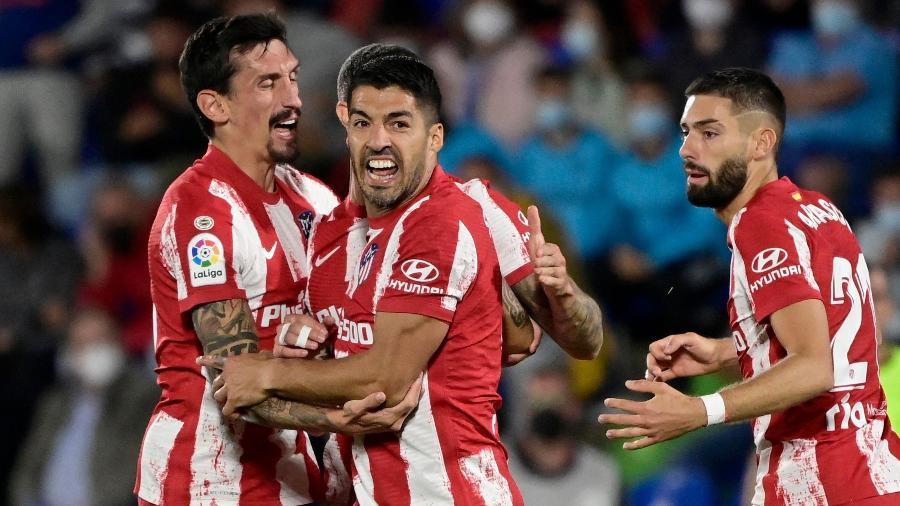 Suárez comemora virada do Atlético de Madri contra o Getafe no Campeonato Espanhol - AFP