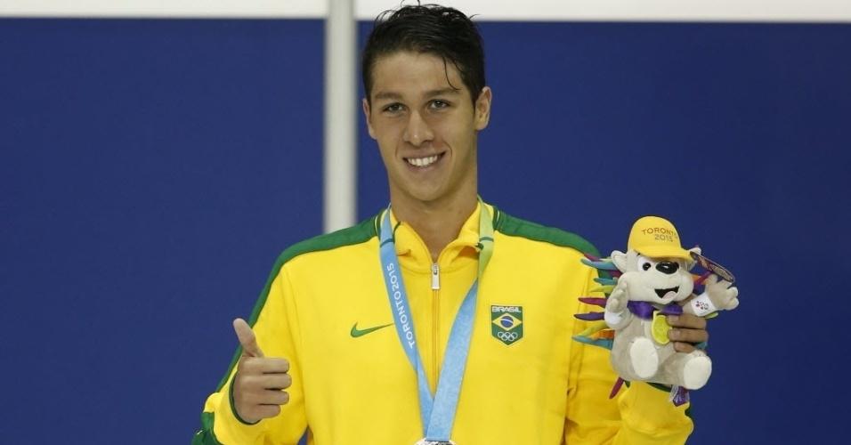 Brandonn de Almeira ficou com medalha de prata nos 1500m livre da natação