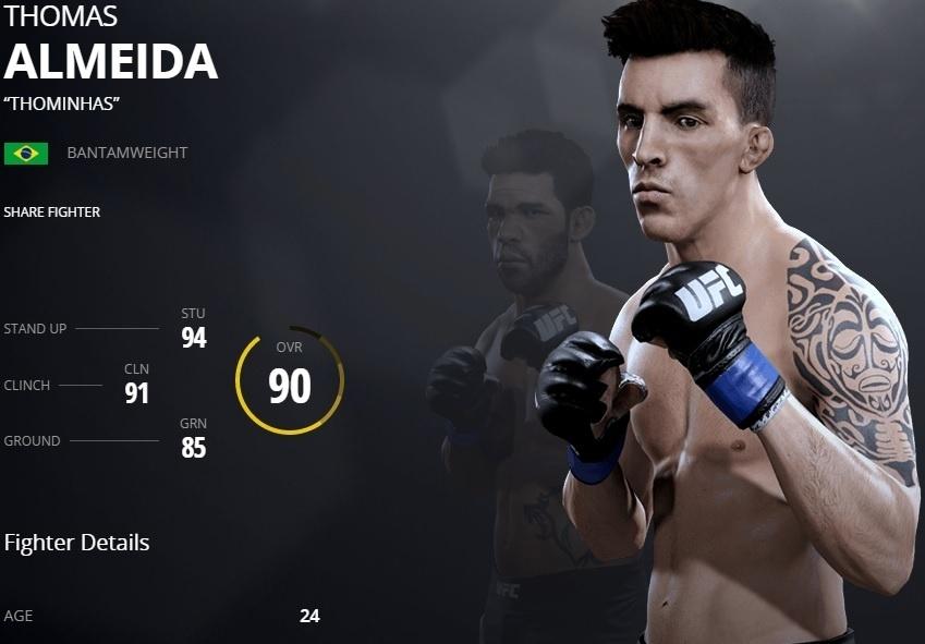 Thomas Almeida em versão virtual do UFC 2