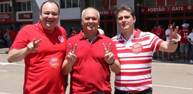 Marcelo Medeiros (c), João Patrício Herrmann (e) e Alexandre Chaves Barcelos (d), em eleição do Inter