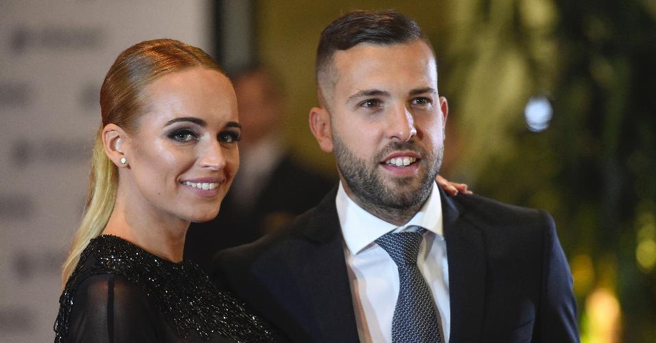 O lateral-esquerdo do Barcelona Jordi Alba tmabém esteve presente para o casamento na Argentina