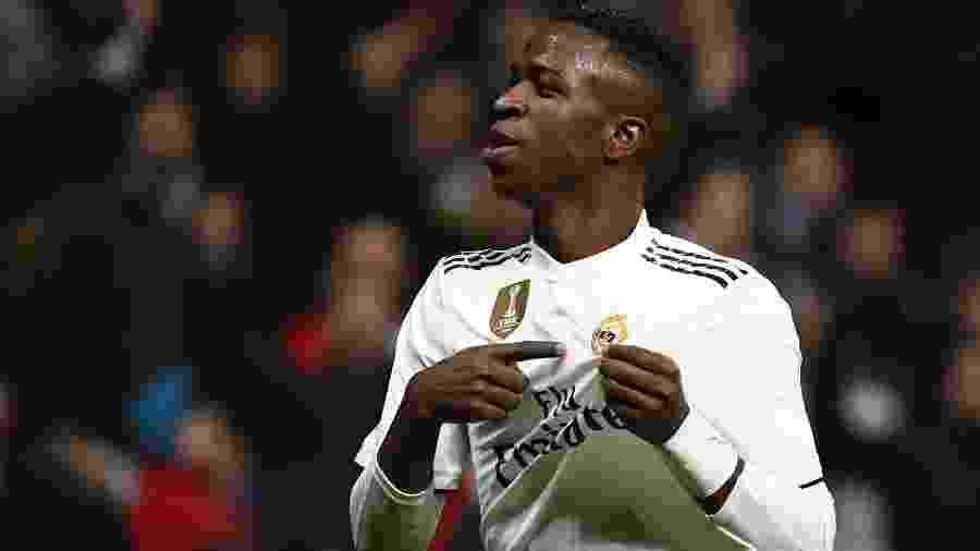 3.fev.2019 - Vinicius Junior comemora gol do Real Madrid contra o Alavés - GABRIEL BOUYS/AFP