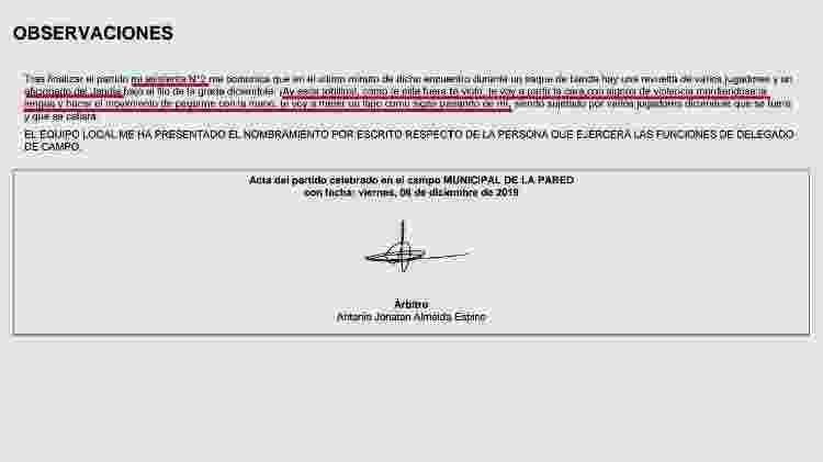 Documento jogo Espanha - Reprodução - Reprodução