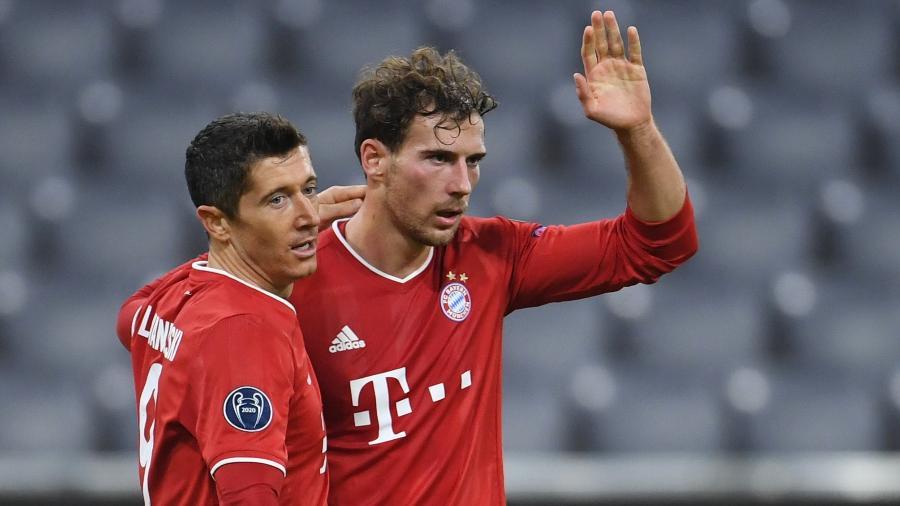 Leon Goretzka e Robert Lewandowski comemoram o gol do Bayern de Munique sobre o Atlético de Madri - Andreas Gebert/Reuters
