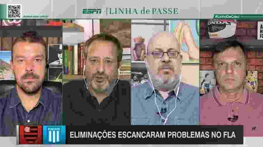 """Comentaristas Pedro Ivo (e), Gian Oddi (seg, da esq pra dir), Vitor Birner e Mauro Cezar (d) participaram do """"Linha"""" na terça (1) - Reprodução/ESPN"""