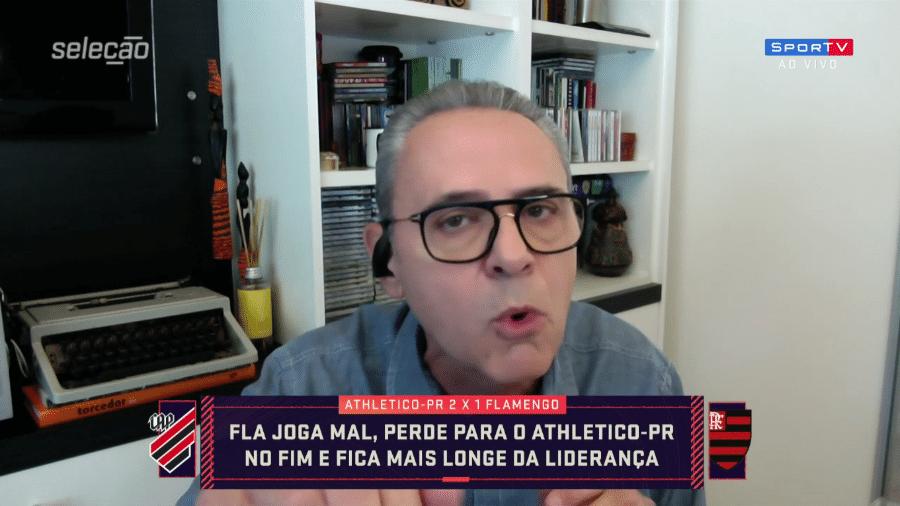 Luís Roberto, narrador e comentarista do Grupo Globo reclama de aglomeração na final da Libertadores - Reprodução/SporTV