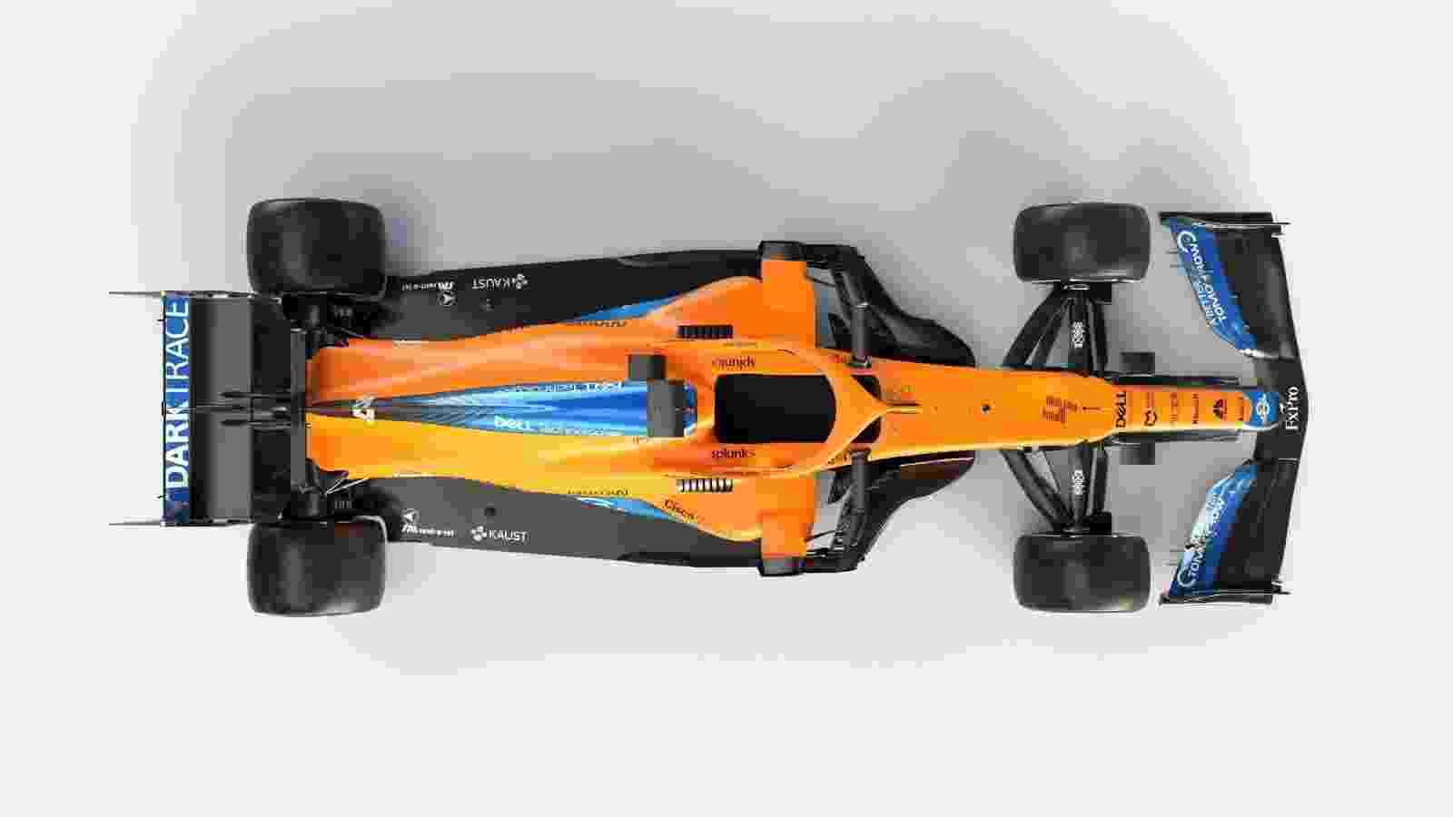 Assoalho dos carros de 2021 da F1 será menor na parte traseira, como mostra novo carro da McLaren - Divulgação