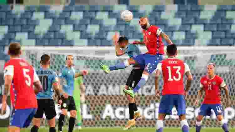 Uruguai e Chile fizeram um jogo muito disputado na Arena Pantanal (MT) pela Copa América - Twitter da Copa América - Twitter da Copa América