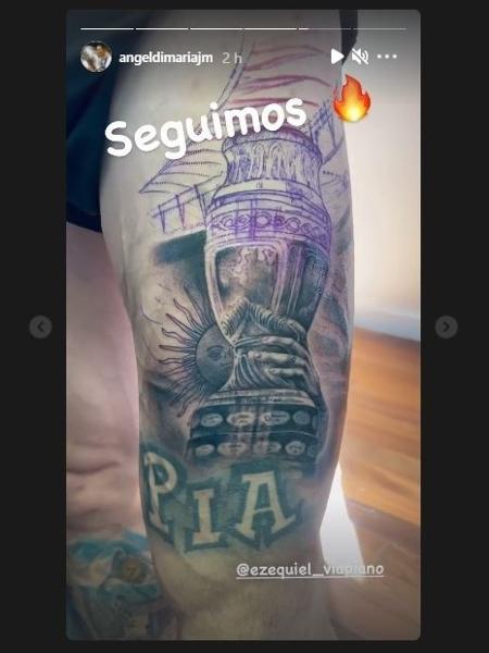 Di María faz tatuagem da taça da Copa América - Reprodução/Twitter