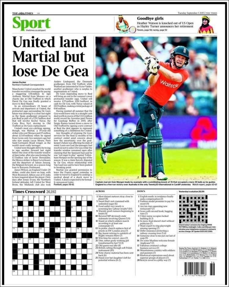 The Times (Londres, Inglaterra): 'United recebe Martial, mas perde De Gea'