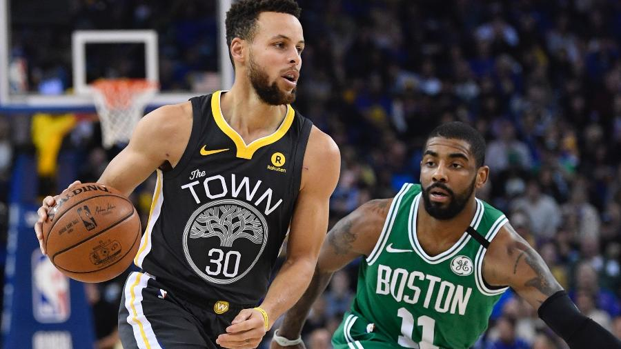 Stephen Curry durante a partida dos Warriors contra os Celtics - Kyle Terada/USA TODAY Sports