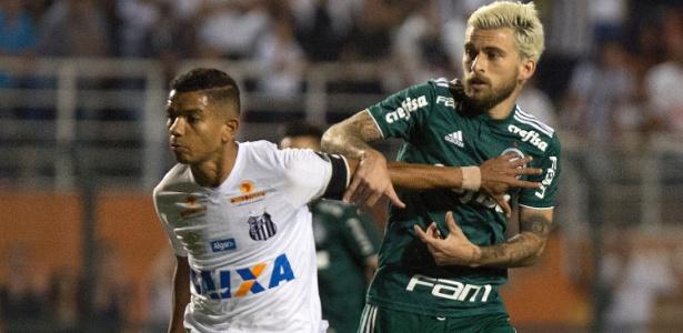 Lucas Lima duela com David Braz no Santos x Palmeiras do primeiro turno - Daniel Vorley/AGIF