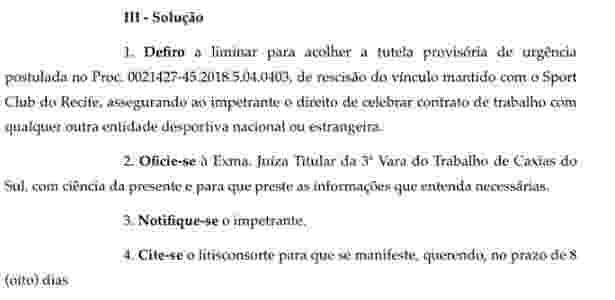 Trecho de decisão judicial sobre a rescisão de contrato de Jair, do Sport - Reprodução - Reprodução