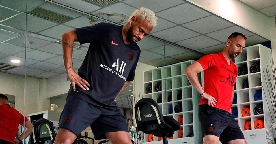Neymar em sua reapresentação ao PSG em 15 de julho de 2019
