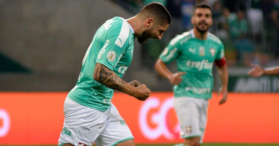 Zé Rafael comemora após marcar pelo Palmeiras contra o Ceará