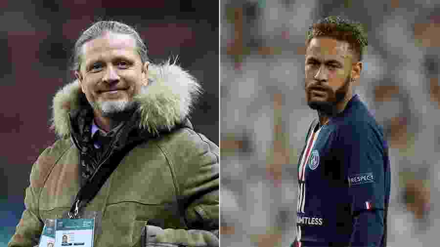 Emmanuel Petit, hoje comentarista, e Neymar - Getty Images e Reuters
