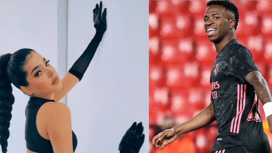 Cantora mexicana Kenia Os e o atacante Vinicius Jr., do Real Madrid - Reprodução/Instagram