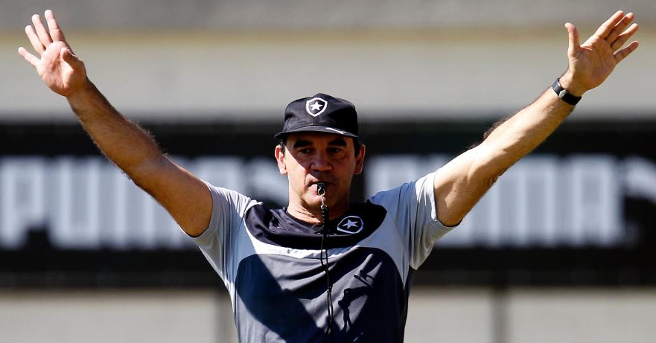 Técnico Ricardo Gomes gesticula durante treinamento do Botafogo