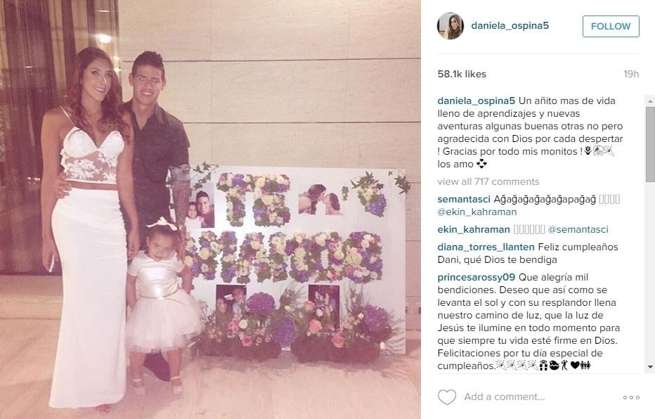 Esposa da James Rodríguez posta foto em rede social encerrando boatos de crise no relacionamento