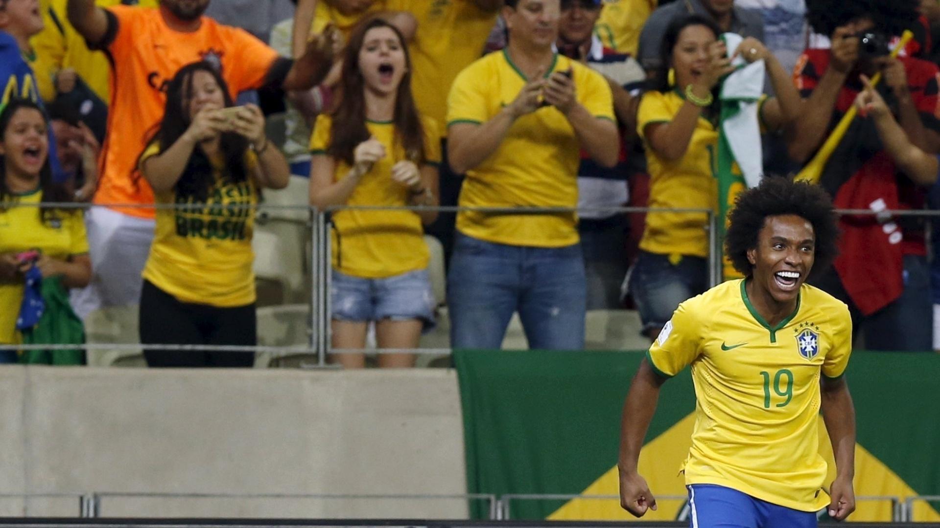 Willian comemora o seu primeiro gol contra a Venezuela, pelas Eliminatórias da Copa do Mundo